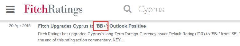 """塞浦路斯受全球权威评级机构惠誉看好,信用评级至""""BB +"""""""